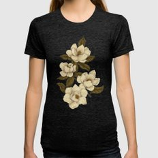 Magnolias Womens Fitted Tee Tri-Black SMALL