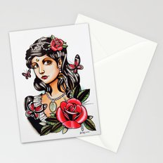 Girl with Butterflies - tattoo Stationery Cards