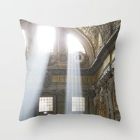 Sun rays in the Vatican Throw Pillow