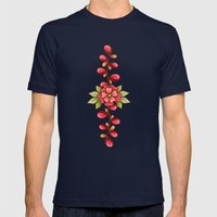 Red sweet flowers Mens Fitted Tee Navy SMALL