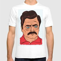 Ron Swanson (color) Mens Fitted Tee White SMALL
