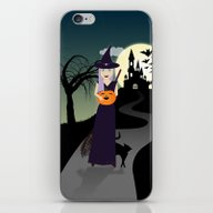iPhone & iPod Skin featuring Cute Halloween Witch Wit… by PLdesign