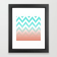 TEA CHEVRON CORAL FADE Framed Art Print