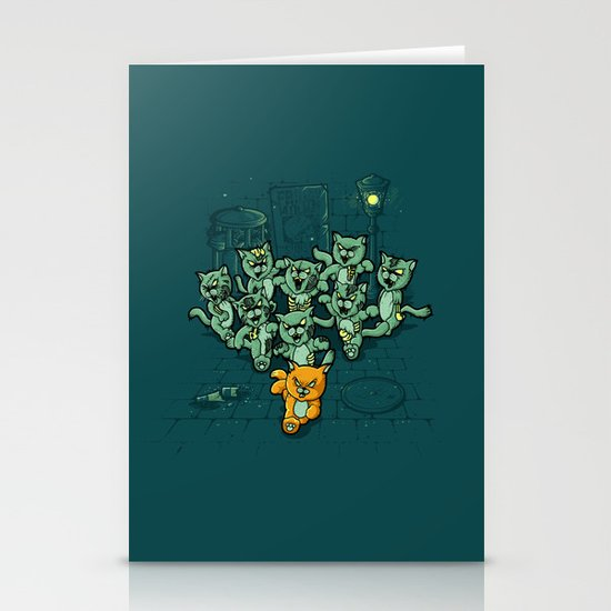 Zombie Cats Stationery Card