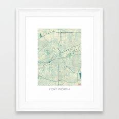 Fort Worth Map Blue Vintage Framed Art Print