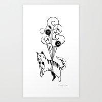 Cat Lady (Black And Whit… Art Print