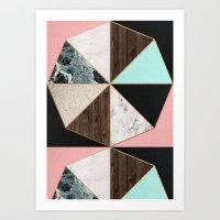Rose Gold Hexagon Pattern Art Print