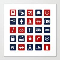 Travel Icons in RWB Canvas Print