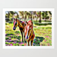 Horses In A Field Art Print