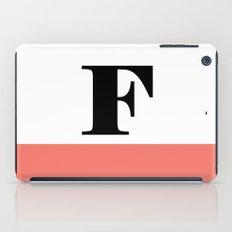 Monogram Letter F-Pantone-Peach Echo iPad Case