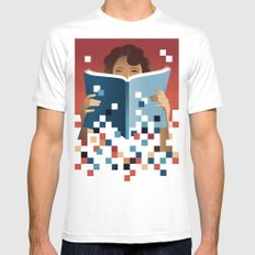 Print to Pixels White Mens Fitted Tee SMALL