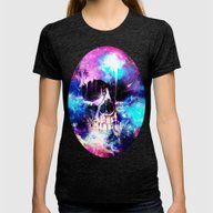 Space Skull Womens Fitted Tee Tri-Black SMALL
