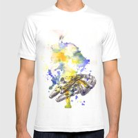 Star Wars Millenium Falcon  Mens Fitted Tee White SMALL
