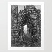 Tumbledown Abbey Art Print