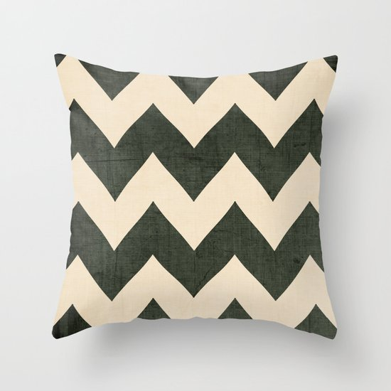 Vintage Vinyl - Black Chevron  Throw Pillow