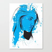 Black, blue & white II Canvas Print