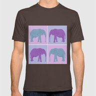 Elephant Pop Art  Mens Fitted Tee Brown SMALL