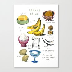 illustrated recipes: banana bread Canvas Print