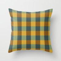 Pixel Plaid - Winter Walk Throw Pillow