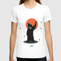 Big Bear and the Bird- Wearing Gas mask Womens Fitted Tee White SMALL