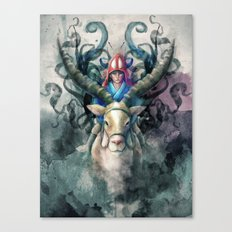 Ashitaka Demon Watercolor Digital Painting Canvas Print