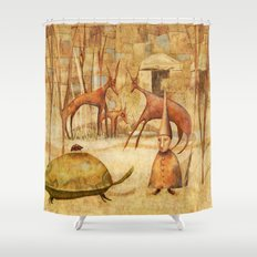 The Tortoise and the Beetle Shower Curtain