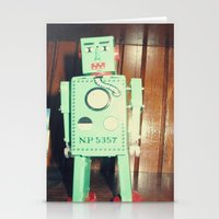 green robot! ~ mid century atomic tin toy Stationery Cards
