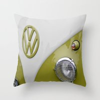 VW Camper Sage Green Throw Pillow