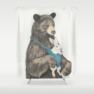 Shower Curtain featuring The Bear Au Pair by Laura Graves