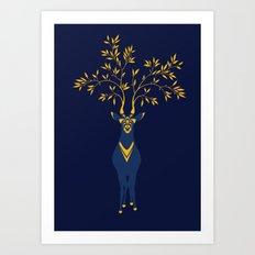 Golden deer Art Print