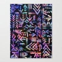 Tapa Tribal Black Canvas Print