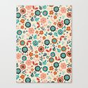 Folk Flowers Canvas Print