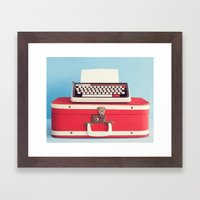 Retro art, typewriter and vintage suitcase  Framed Art Print