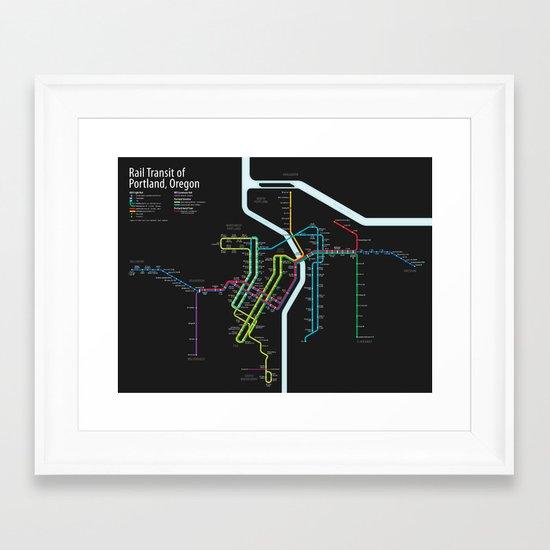 Rail Transit of Portland, Oregon Framed Art Print