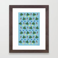 Aliens & Astronauts pattern Framed Art Print