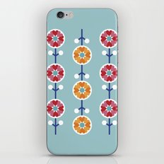 Scandinavian inspired flower pattern - blue background iPhone & iPod Skin