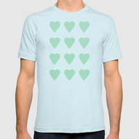 16 Hearts Mint Mens Fitted Tee Light Blue SMALL