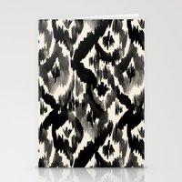Black Ikat Diamonds Stationery Cards