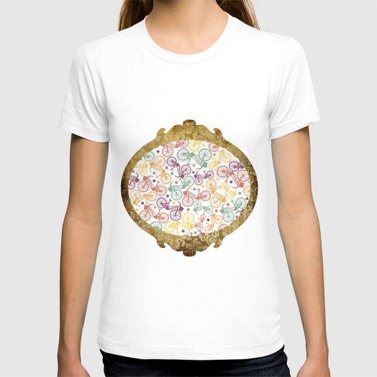 Whimsical bicycle pattern & retro polka dots T-shirt