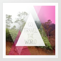 Travel the world Indonesia photography smokey mountain and typography print Art Print