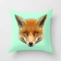 Poly the Fox Throw Pillow