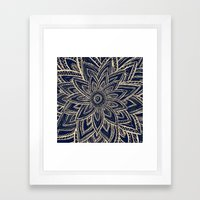 Cute Retro Gold abstract Flower Drawing on Black Framed Art Print