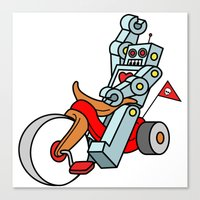Hot Wheeling Robot Love Canvas Print