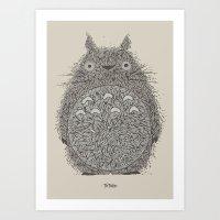 Cream Totoro Art Print
