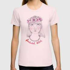Floral Feminist Bitch Womens Fitted Tee Light Pink SMALL