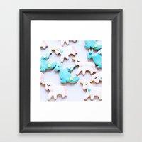 unicorn & dragon love Framed Art Print