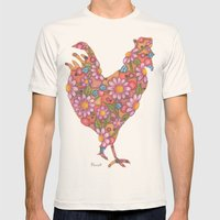 Daisy Rooster Mens Fitted Tee Natural SMALL