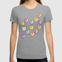 Conversation Hearts Womens Fitted Tee Tri-Grey SMALL