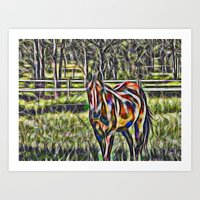 Horse In Paddock Art Print
