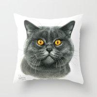 British shorthair cat  G120 Throw Pillow